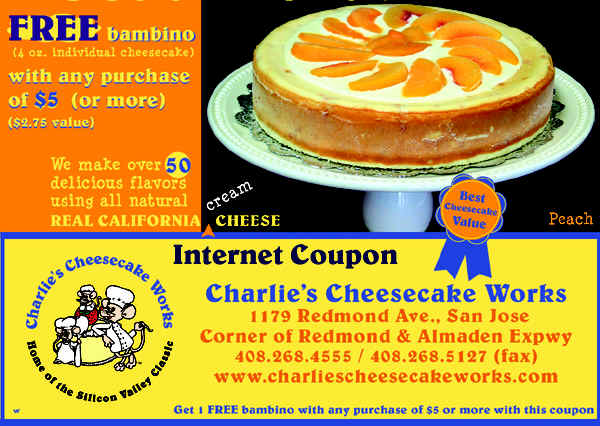 Charlie's Cheesecake Works Coupon San Jose CA